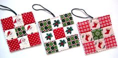 Christmas Ornaments Quilted Tiny Quilts for by QuiltyMcQuilterson, $15.00 (Fabric Christmas Ornaments)