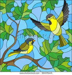 Illustration in stained glass style on the theme of summer, two siskin in the sky and maple leaves Stained Glass Paint, Stained Glass Birds, Stained Glass Designs, Stained Glass Projects, Stained Glass Patterns, Stained Glass Windows, Glas Art, Bird Quilt, Illustration