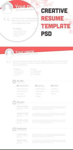 Free Creative Resume Template PSD - cssauthor.com
