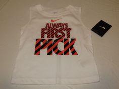 Boys Baby Nike 24M tank top shirt 66a026 001 white Always First Pick NWT  #Nike