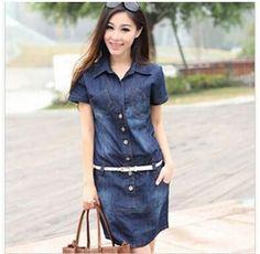 Women's Dress Summer Style Plus Size Dresses 5XL Denim Short Sleeve Loose-fitting Dress Casual Clothes