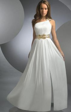 Beading Vintage A-line Chiffon Floor Length One Shoulder Natural Waist Sleeveless Dress at kissydress.com.au