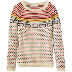 Woolrich Women's Bateau Fairisle Mohair Sweater (130 AUD) ❤ liked on Polyvore featuring tops, sweaters, wool cream, cream sweater, fairisle sweater, woolrich. sweaters, cream top and mohair sweaters