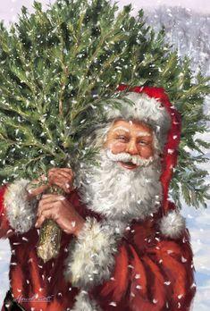 Vintage Santa carrying cut Christmas tree Marcello Corti - XM1676.jpg