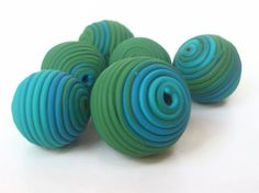 Polymer clay bead set  Greens and Blues by blindcrowcreations, £5.00