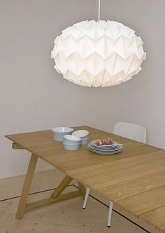 An origami lampshade from Snowpuppe makes your home cosy. The paper diffuses the light and makes it soft and warm. The geometric shapes of the origami lamps fit in almost any interior. Origami Lampshade, Paper Lampshade, Lampshades, Origami Ball, Origami Paper, Diy Paper, Origami Top, Origami Lights, Origami Lantern