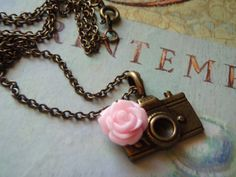 Camera Charm Necklace Bronzed Camera with Pink Rose Dark Chain - Photographers Dream on Etsy, £14.00