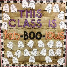We've got to say that this bulletin board template from is fab-BOO-licious! We've got to say that this bulletin board template from is fab-BOO-licious! Hallway Bulletin Boards, October Bulletin Boards, Elementary Bulletin Boards, Kindergarten Bulletin Boards, Halloween Bulletin Boards, Birthday Bulletin Boards, Preschool Bulletin Boards, Elementary Library, Preschool Door