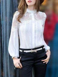 White Long Sleeve Stand Collar Blouse #collares