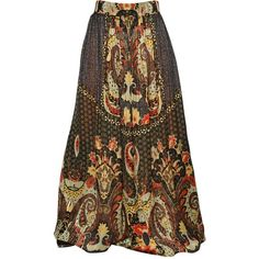 ETRO Printed Silk Pequin Skirt - Multi (€705) ❤ liked on Polyvore featuring skirts, bottoms, dresses, maxi skirts, multi, silk skirt, brown maxi skirt, long brown skirt, long skirts and etro