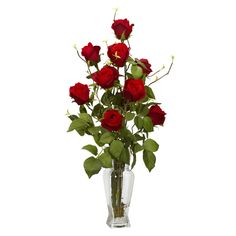 - Description - Specifications Send a timeless classic of rosebud silk flowers to a special person in your life! This arrangement is displayed in a glass vase with Liquid Illusion faux water and will