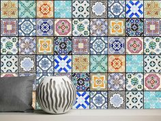 "Vinyl Stickers ""Tiles of the Houses of Lisbon, Portugal"" / Set 12/ 24/ 36 pcs / Tiles for Kitchen / Tiles for Bathroom / Floor Decals"