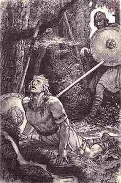 """""""Cuando el señor Sigfrido estaba inclinado sobre la fuente le clavó la jabalina en la cruz señalada en la espalda. Por la herida le brotó abundante la sangre que salía del corazón, hasta manchar las ropas de Hagen. Nunca podrá héroe alguno cometer tamaña felonía. Clavada en el corazón le dejó entonces el arma"""" Cantar de los Nibelungos, Cátedra, pág.188"""
