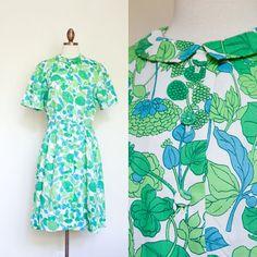 vintage 1960s green botanical shirtdress / 60s McMullen green