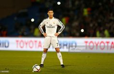 Cristiano Ronaldo of Real Madrid CF prepares to take a free kick during the FIFA Club World Cup Final match between Real Madrid CF and San Lorenzo at Le Grand Stade de Marrakech on December 20, 2014 in Marrakech, Morocco.