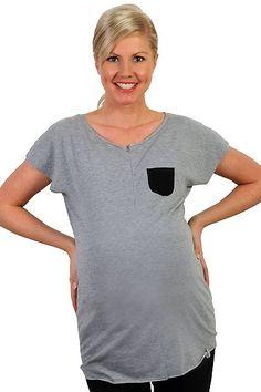 Těhotenské šedé tričko na kojení s kapsou vpředu Mens Tops, T Shirt, Fashion, Supreme T Shirt, Moda, Tee Shirt, Fashion Styles, Fashion Illustrations, Tee