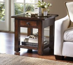 Benchwright Square Side Table - Rustic Mahogany | Pottery Barn