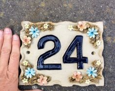 House number plaque, ceramic door numbers, yard sign, custom handmade, ideal housewarming gift for new home House number plaque ceramic door numbers door sign by Sallyamoss House Name Plaques, House Number Plaque, Door Number Plaques, Door Numbers, Pottery Houses, Ceramic Houses, Ceramic House Numbers, Cerámica Ideas, Tropical Decor