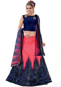 Charismatic Coral Pink and Midnight Blue Lehenga Choli