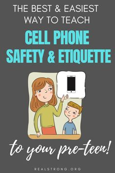 Cell phone etiquette and safety for pre-teens. If you are looking for ways to teach cell phone manners and safety to your child or tween and want to have a plan to avoid cell phone addiction and overuse, set limits and prepare them for a lifetime of safe and healthy cell phone usage- this is the best book of short lessons for preteen cell phone usage. Cell phone manners in public etiquette curriculum for homeschool and parents Cell Phone Addiction, Curriculum, Homeschool, Phone Etiquette, Manners For Kids, Etiquette And Manners, Raising Godly Children, Inspirational Articles, Christian Parenting