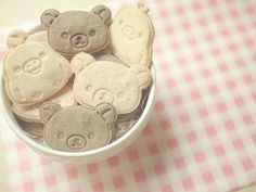 cute, food, and rilakkuma image Japanese Bento Box, Japanese Snacks, Japanese Sweets, Rilakkuma Cake, Kawaii Dessert, Biscuit Cookies, Sugar Cookies, Kawaii Shop, Polymer Clay Charms