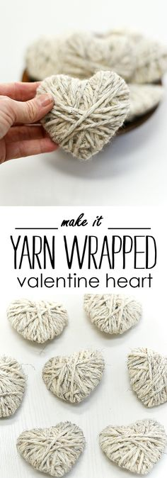 Yarn Wrapped Hearts - Valentine Craft Ideas with Yarn - Neutral Valentine Craft Ideas - Kid crafts for Valentine's Day
