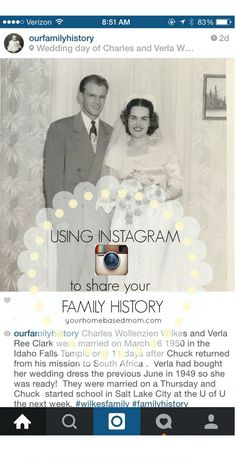 Using Instagram to share your family history @yourhomebasedmom