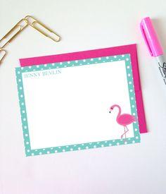 Free Printable Monogram Flamingo Polka Dot Note Cards from printablemonogram.com