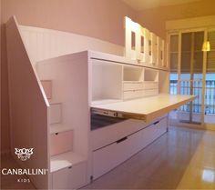 Litera con escritorio extraible para habitaciones infantiles y juveniles literas con dos y tres for Habitaciones juveniles 3 camas