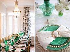 Verde-esmeralda para decoração de mesas