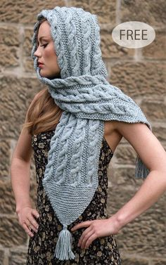 Free Knitting Pattern for Harriet Hooded Scarf - Cabled scarf in chunky yarn wit. : Free Knitting Pattern for Harriet Hooded Scarf – Cabled scarf in chunky yarn with pointed ends and tassels. Designed by Jo Allport. A kit is also available. Cable Knitting Patterns, Knitting Kits, Loom Knitting, Free Knitting, Hooded Scarf Pattern, Sweater Patterns, Rico Design, Chunky Yarn, Scarf Knit
