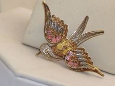 Vintage Chinese Enamel Gold Washed 800 Silver Filigree Bird Pin Brooch