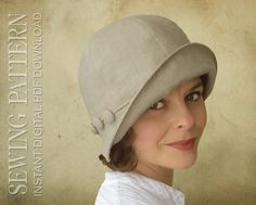 Eleanor  This romantic cloche is a versatile chapeau for any season. You can make it in light weight fabrics for a jaunty summer sun hat, flipping the brim up of down for ideal shade.