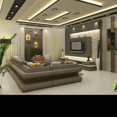 Photo - Google+ Living Room Tv Unit Designs, Ceiling Design Living Room, Bedroom False Ceiling Design, Bedroom Bed Design, Plafond Design, Muebles Living, Luxury Rooms, Modern House Design, Interior Design