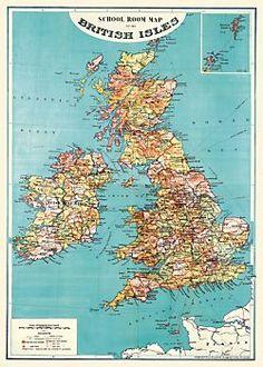 Cavallini British Isles Map Wrapping Paper