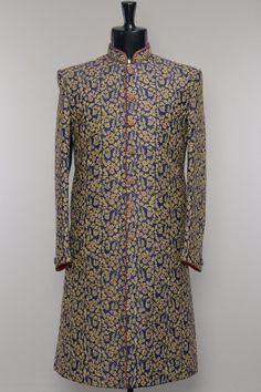 Navy Blue Silk Dori Embroidered Wedding Sherwani-SH449
