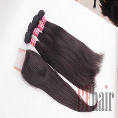 BF Hair 4PCS Brazilian Virgin Hair Straight hair With 1Piece Lace Top Closure,5PCS Lots Best Match 6A Grade - BF Hair