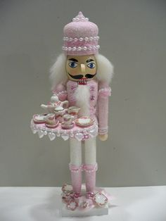 PINK  with white glitter Nutcracker & tea set with tiny roses