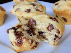 The BEST Chocolate Chip Muffins are moist and tender with buttery slightly crispy edges and tons of gooey chocolate chips throughout. Just Desserts, Delicious Desserts, Dessert Recipes, Yummy Food, Cupcakes, Cupcake Cakes, Muffin Recipes, Baking Recipes, Best Chocolate Chip Muffins