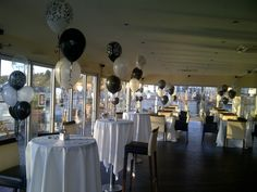 Black and white themed party balloons