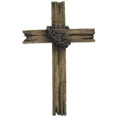 Brown Faux Wood & Barb Wire Cross Wall Decor