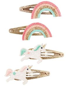 Girls 4 pk Rainbow Striped Sleepies Hair Clips Great For Party Bags Bright Fun