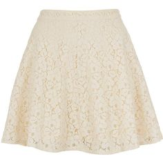 TOPSHOP Cream Lace Skater Skirt (£10) ❤ liked on Polyvore featuring skirts, bottoms, saias, faldas, cream, lacy skirt, pink circle skirt, cream skater skirt, lace skirt and cream lace skirt