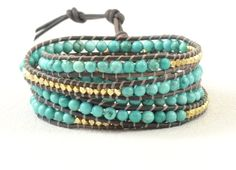 Turquoise Leather Wrap Bracelet / Gold Beaded Wrap by IdaEstelle, $98.00. It's so so pretty, I just don't know that I want to pay that much.