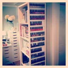 The Nail Polish rack.this would be awesome in my makeup room! My New Room, My Room, Girl Room, Rangement Makeup, Nail Polish Storage, Ideas Para Organizar, Makeup Storage, Beauty Room, Organization Hacks