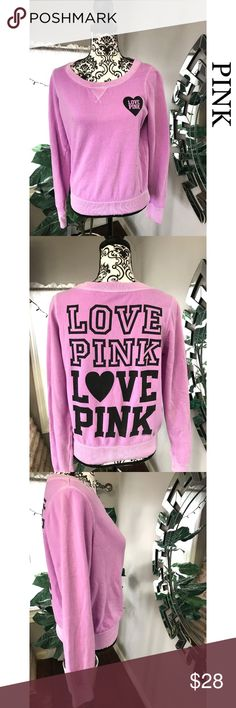 Victoria Secret Pink women crewneck sweater Victoria secret Pink women sweater. Size small. It does run big, can fit a size medium. No rips or stains. Its crewneck. Its long sleeves. Has a cute LOVE PINK logo on the front and back. Color is a lavender pink and black. Non smoking home   Approx. Measurement (Laying flat) Pit to pit 20inch Length 22inch Victoria's Secret Sweaters