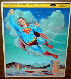 """COMPLETE VINTAGE 1963 WHITMAN SUPERMAN FRAME TRAY 14"""" x 11"""" PUZZLE #4511"""