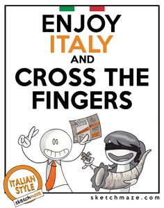 """ENJOY ITALY and CROSS THE FINGERS"" #sketchmaze #enjoy #enjoyitaly #italy #italia #italianstyle #italian #madeinitaly #fun #funny #viral #meme #memes #marketing #follow #followme #love #art #travelgram #vacation #tourism #book #books #comics #sketch #sketches #fabioleonardi #maxvellucci #fortune #crossthefinger"