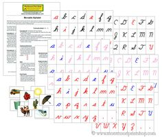 cursive moveable alphabet with letters pictures and instructions