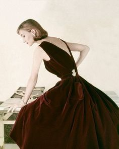 Dark Merlot Velvet Evening Dress by Digby Morton   1950's
